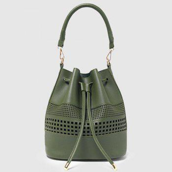 Évider Drawstring Bucket Bag Set - Vert