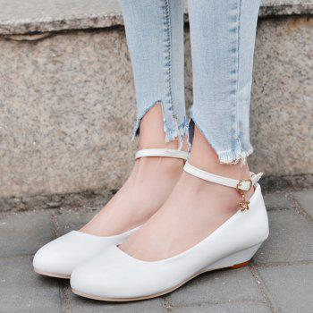 Ankle Strap Round Toe Wedge Shoes - WHITE WHITE