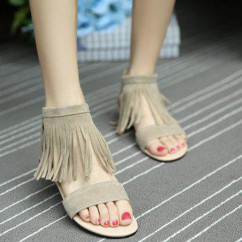 Fringed Flat Heel Sandals