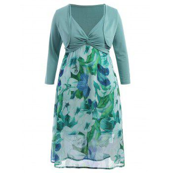 Plus Size Midi Floral Slip Dress With Jacket - LIGHT GREEN 4XL