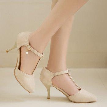 T Strap Suede Pumps
