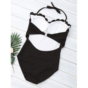 Halter Scalloped Padded One Piece Swimsuit - BLACK M