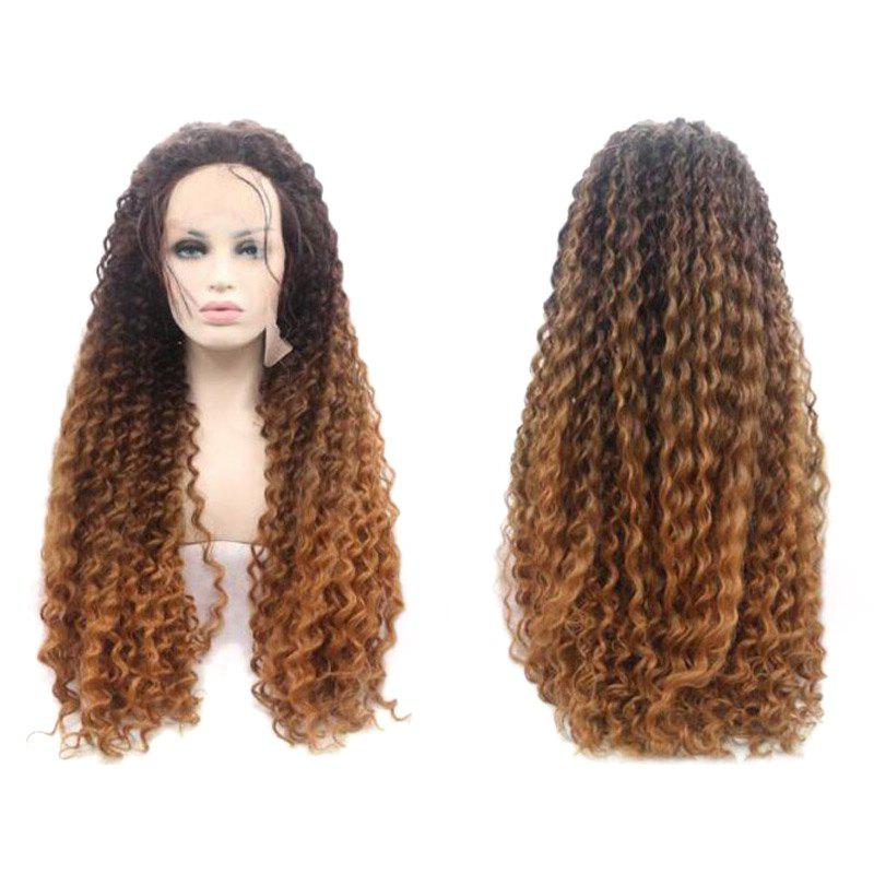 Long Afro Curly Ombre Lace Front Synthetic Wig - COLORMIX