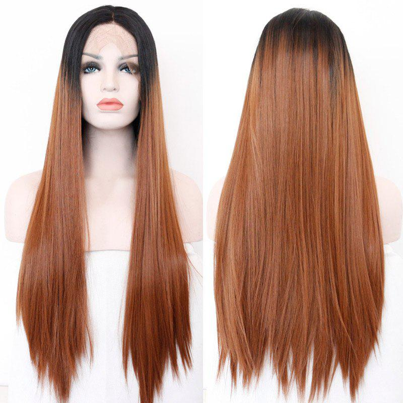 Medium Part Straight Long Lace Front Synthetic Hair Wig - COLORMIX