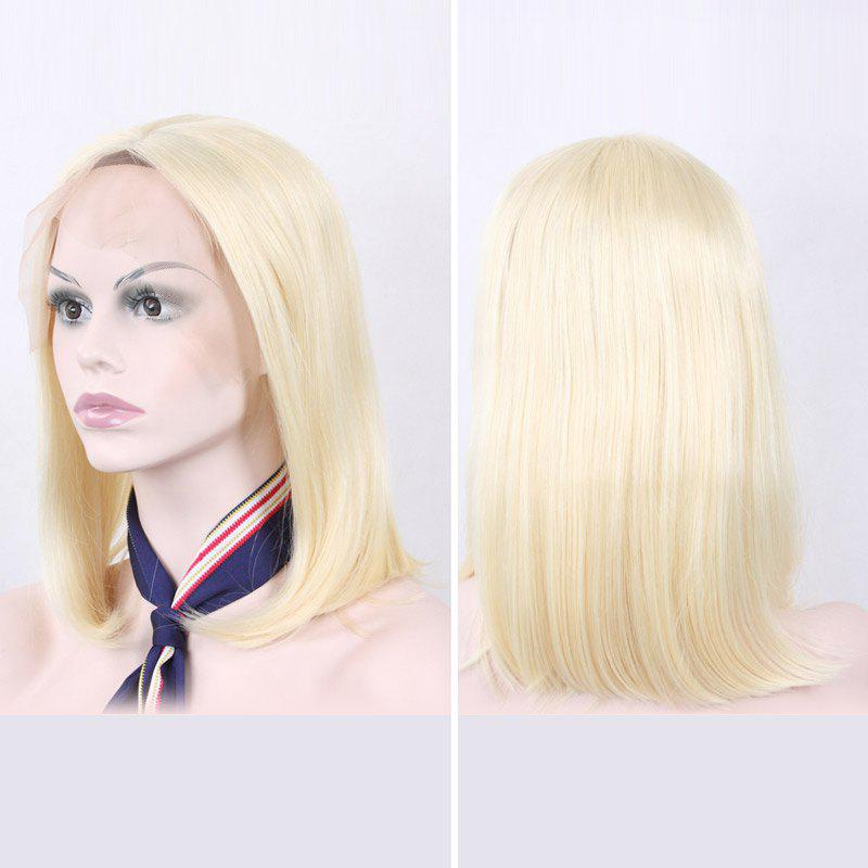 Medium Side Parting Straight Lace Front Synthetic Hair Wig - LIGHT GOLD