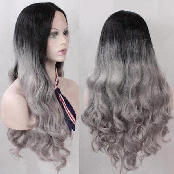 Long Middle Part Ombre Wavy Lace Front Synthetic Wig - COLORMIX