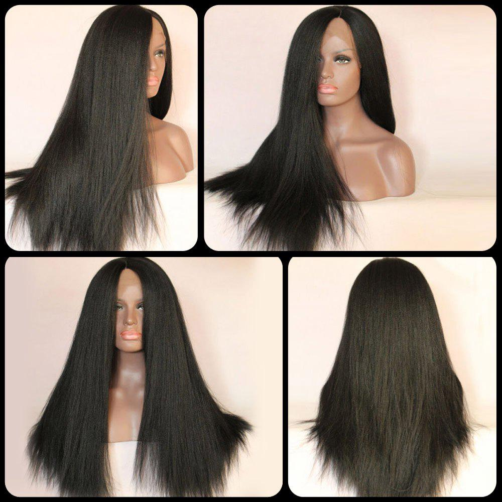 Straight Long Side Parting Lace Front Synthetic Wig - BLACK