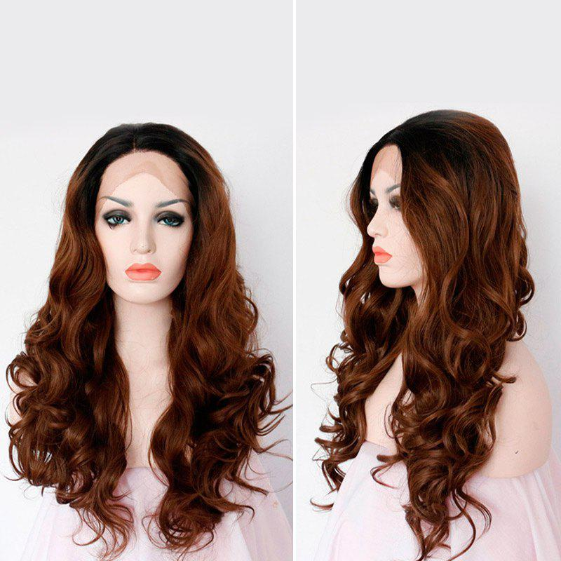 Synthetic Long Wavy Side Part Lace Frontal Wig - COLORMIX