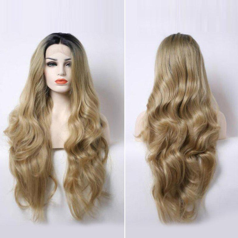 Long Middle Part Dark Root Wavy Lace Frontal Synthetic Wig - COLORMIX
