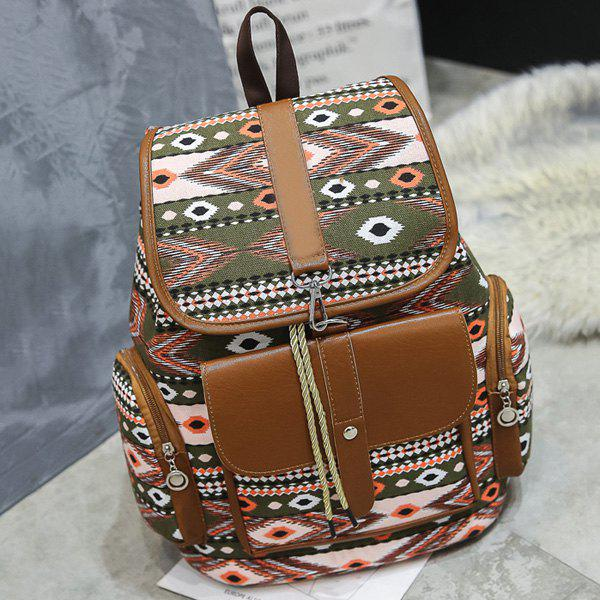 Canvas Tribal Printed Backpack - GREEN