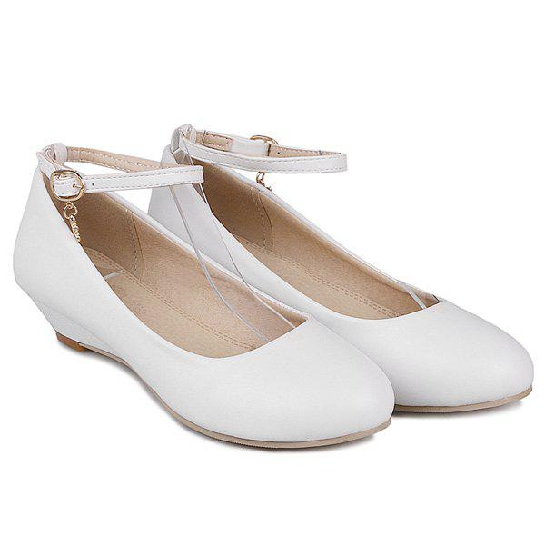 Ankle Strap Round Toe Wedge Shoes - WHITE 39