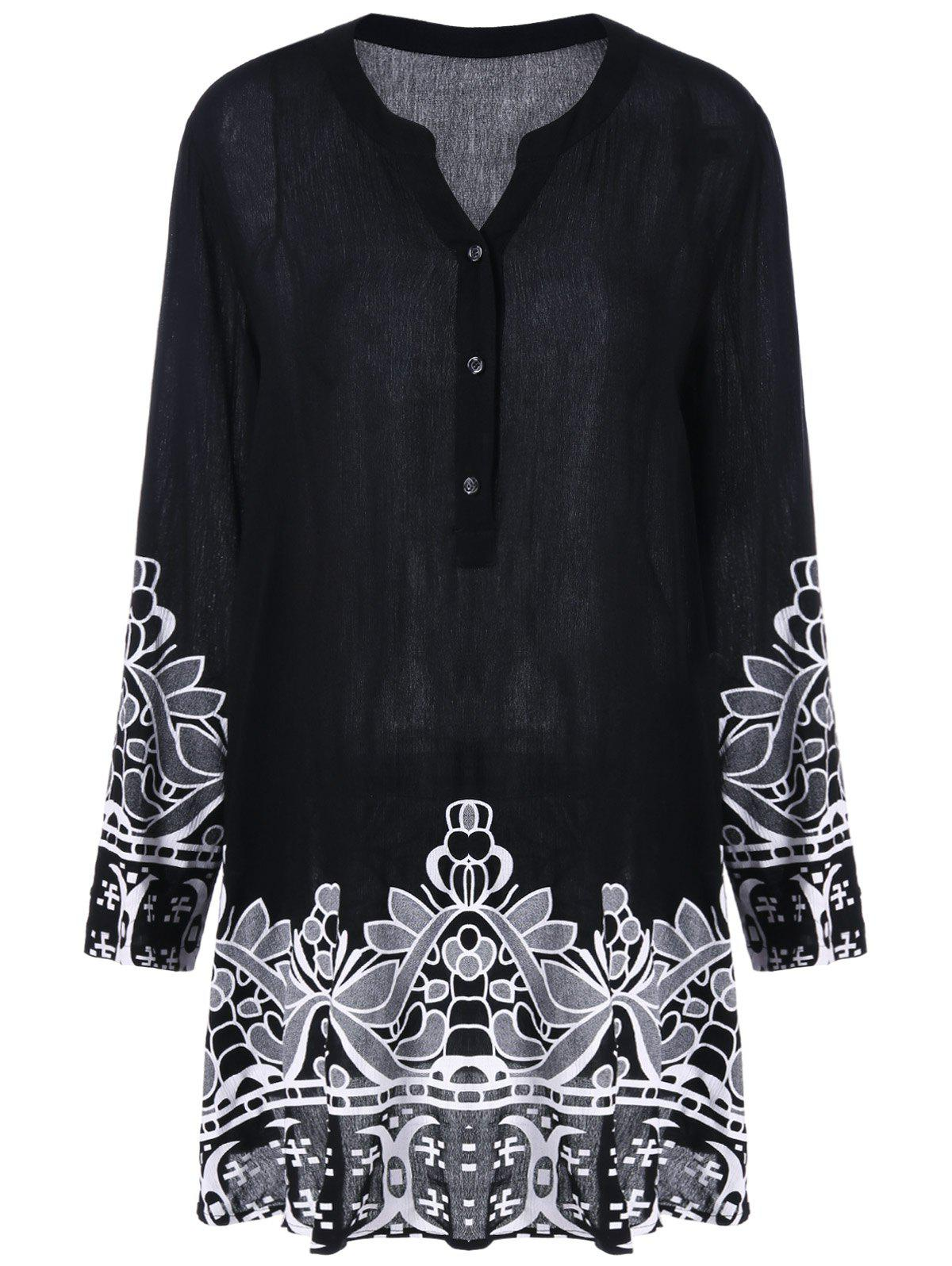 Plus Size Longline Henley Blouse - BLACK 2XL