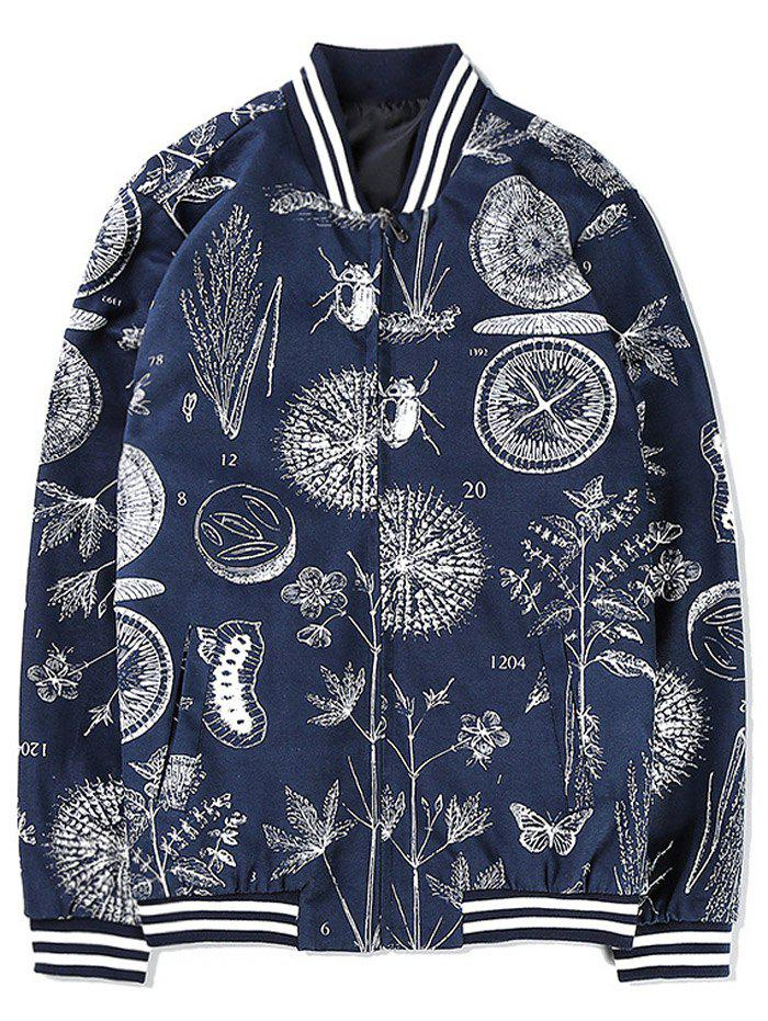 Zip Up Insect and Plant Print Jacket - CADETBLUE 5XL