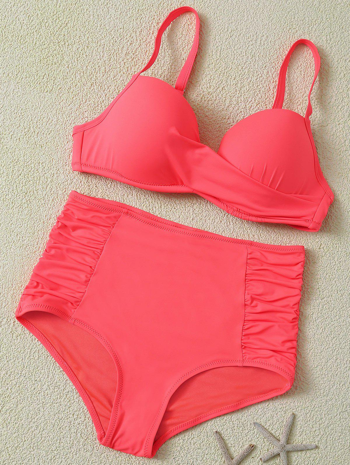 Padded High Waist Candy Color Bikini - RED XL