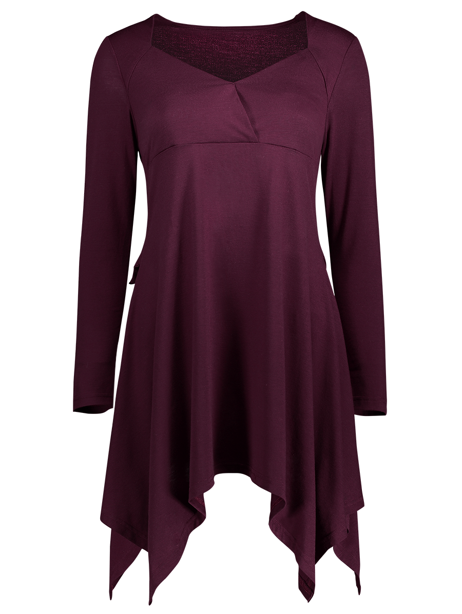 Asymmetrical Lace Up Top - WINE RED S