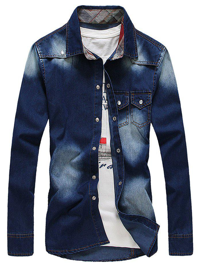 Pockets Design Bleach Wash Denim Shirt - DEEP BLUE L
