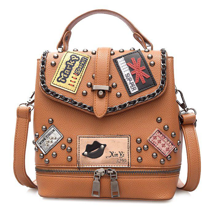 Rivet Patches Chain Trimmed Backpack - BROWN
