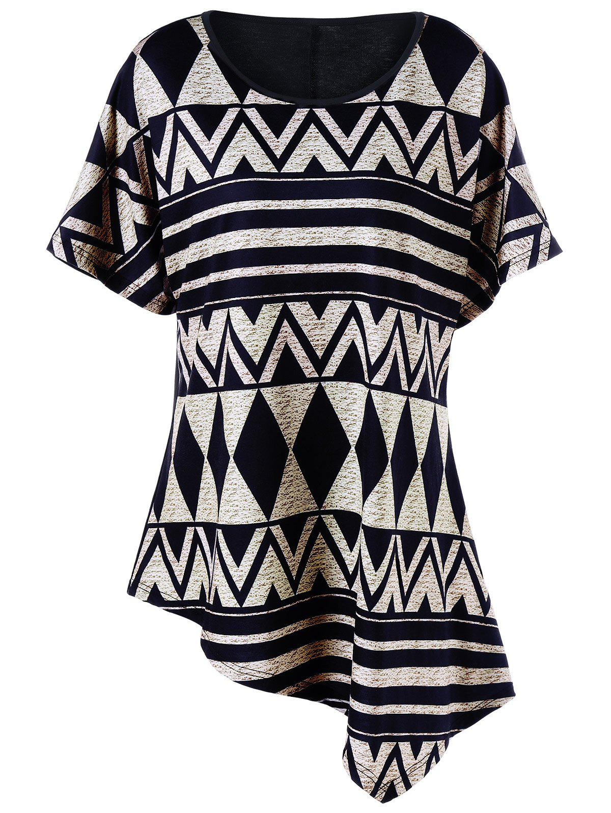 Plus Size Batwing Sleeve Geometric Asymmetrical T-Shirt - BLACK XL