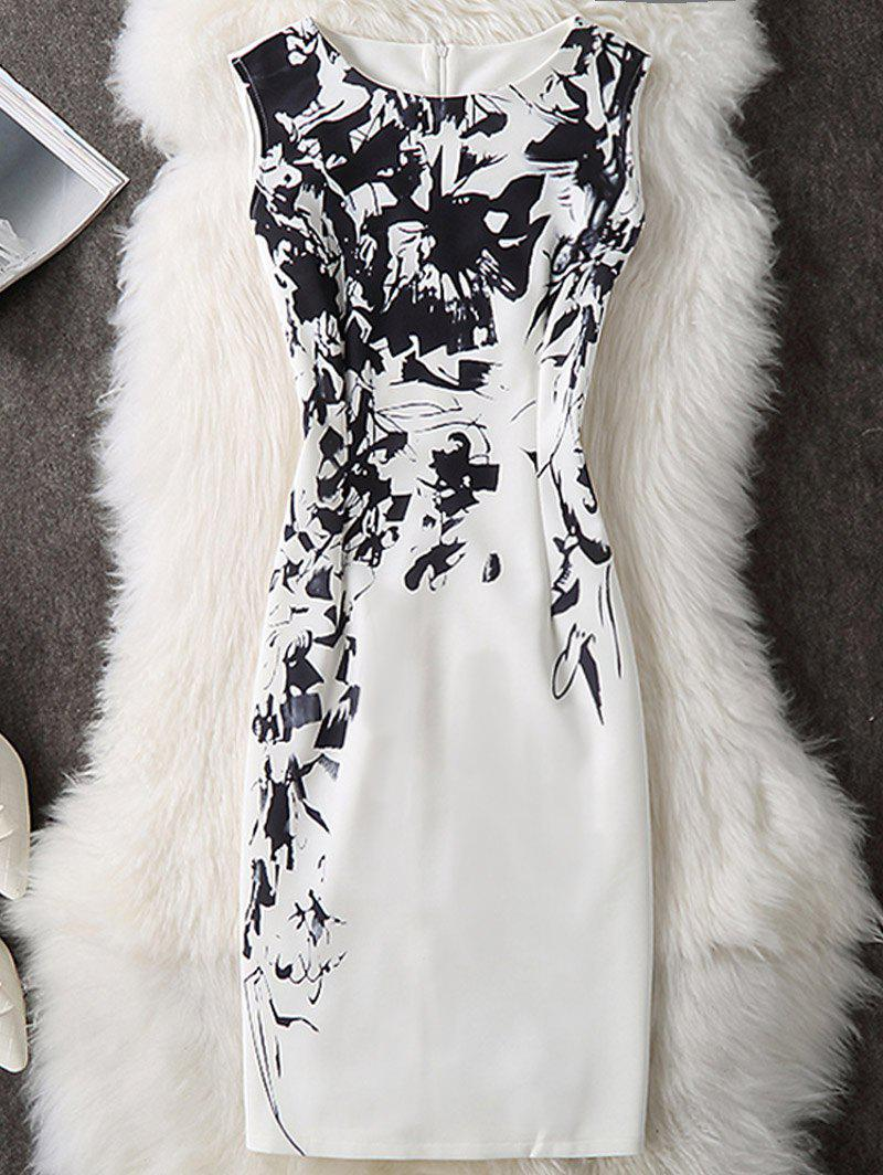 Printed Sleeveless Knee Length Bodycon Dress - WHITE M