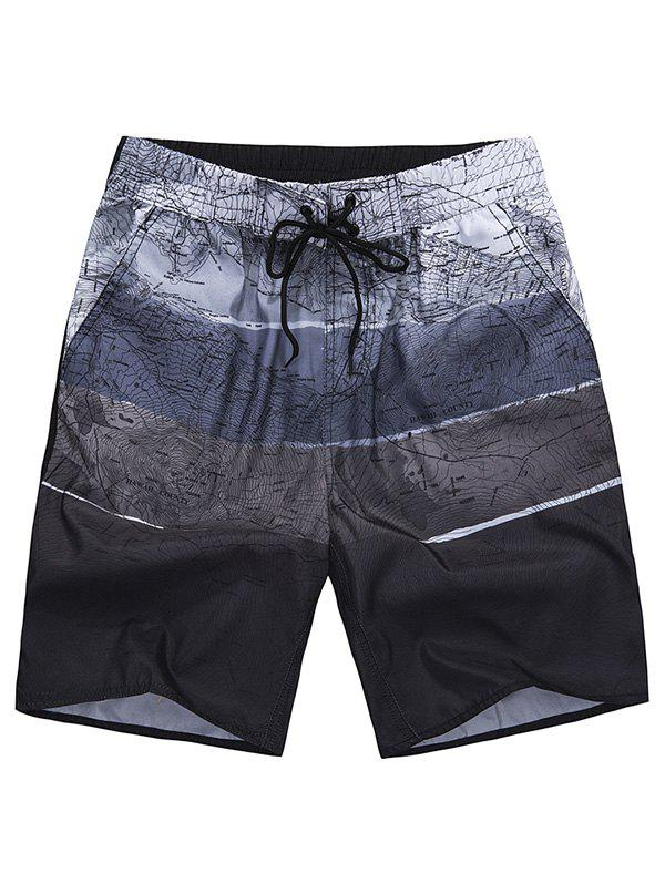 Drawstring Graphic Board Shorts drawstring graphic print pocket sport shorts