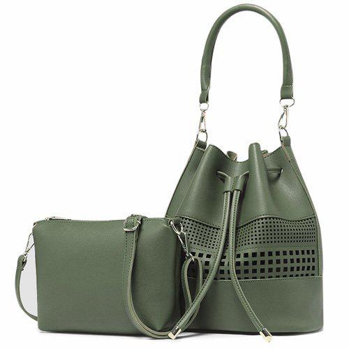 Hollow Out Drawstring Bucket Bag Set - GREEN