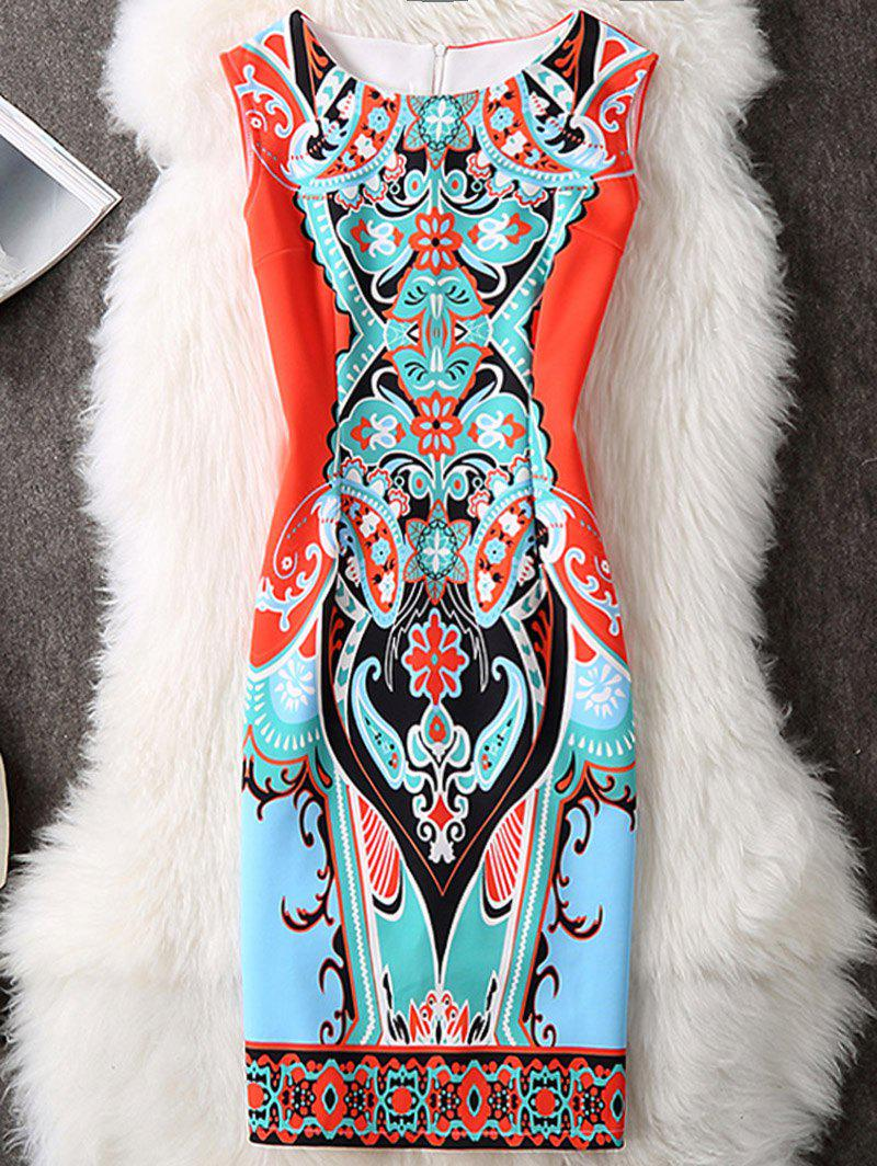 Printed Color Block Sleeveless Bodycon Dress - ORANGE RED XL