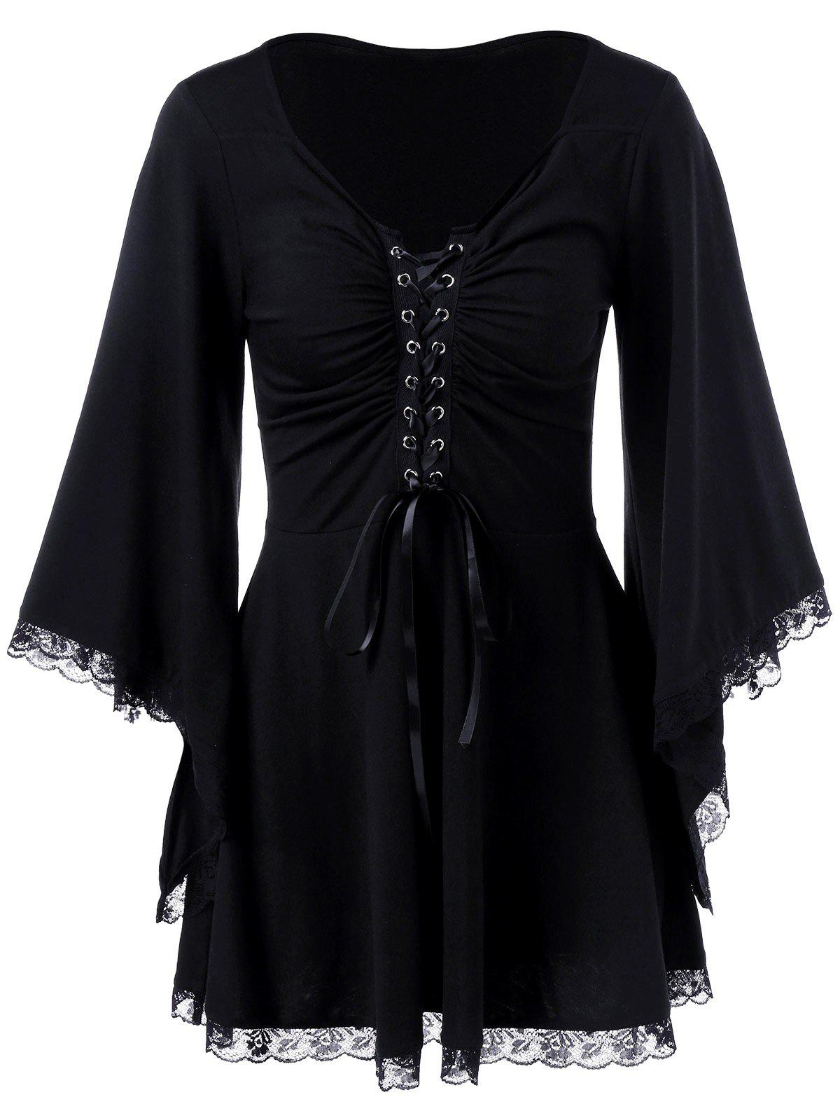 Black t shirt with lace - Bell Sleeve Lace Up T Shirt Black 2xl