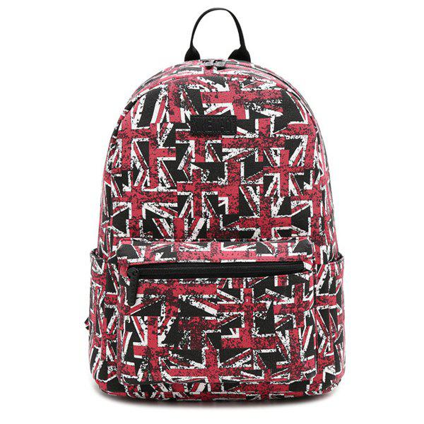 Pad Shoulder Strap Print Canvas Backpack - RED