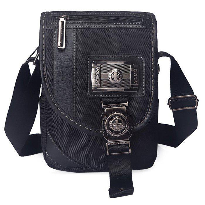 Metal Embellished Nylon Chest Bag - BLACK