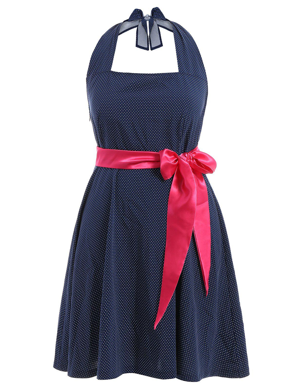 Halter Polka Dot Plus Size Dress With Belt - PURPLISH BLUE 6XL