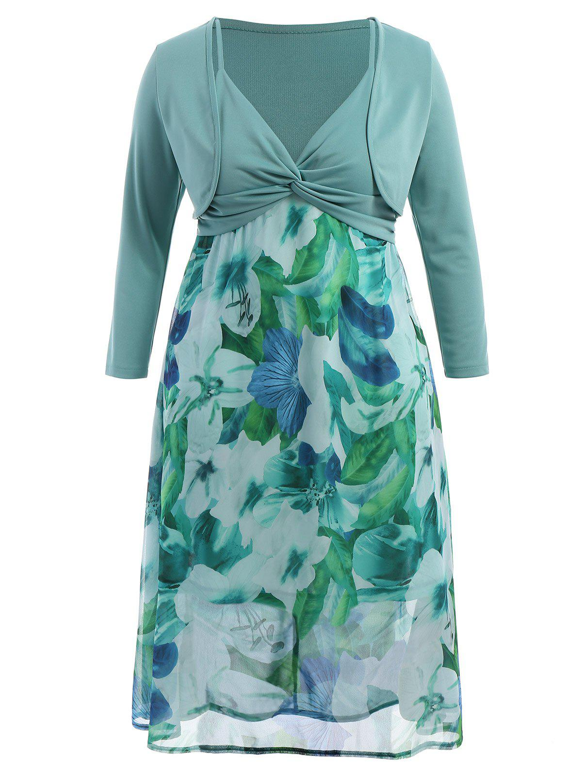 Plus Size Midi Flower Dress With Jacket - LIGHT GREEN 6XL