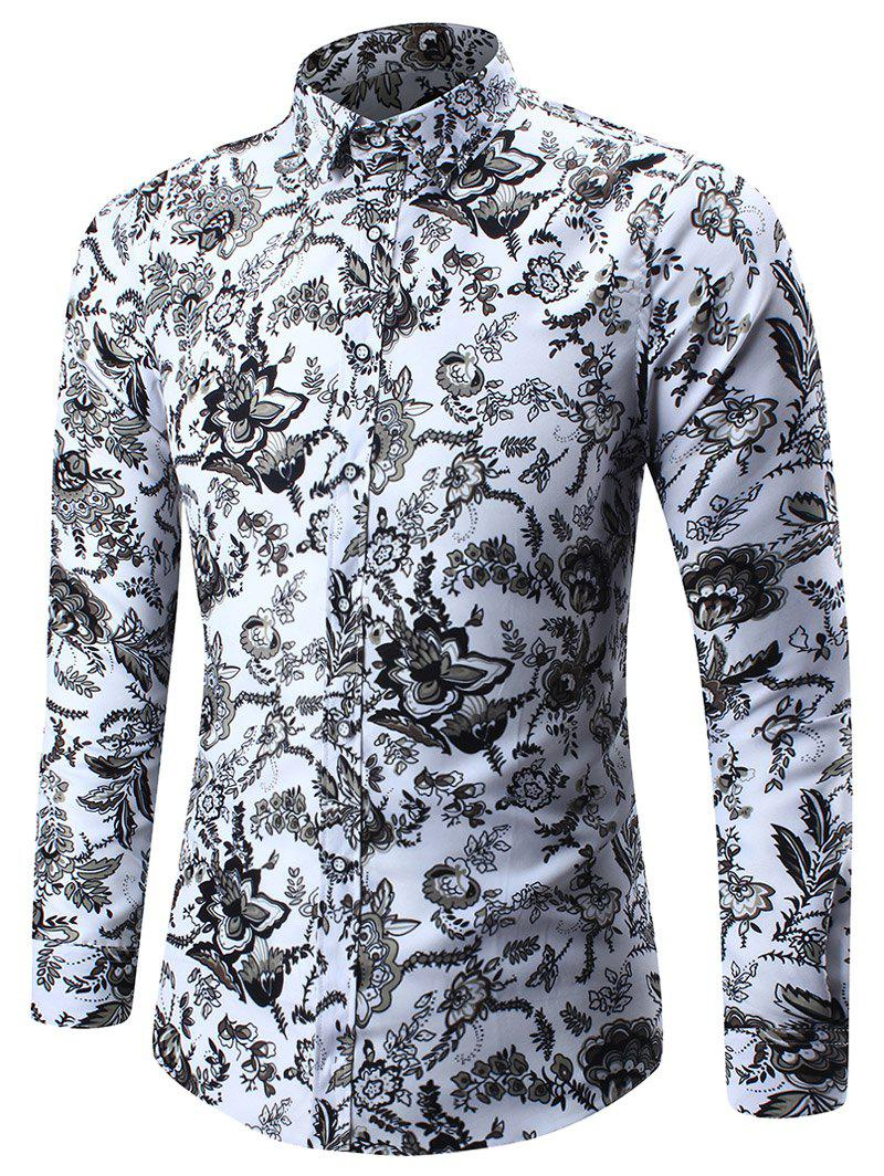 Flower Pattern Long Sleeve Shirt - WHITE 5XL