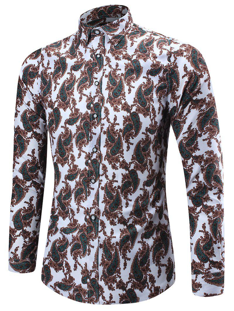 Long Sleeve Paisley Pattern Shirt - COLORMIX L