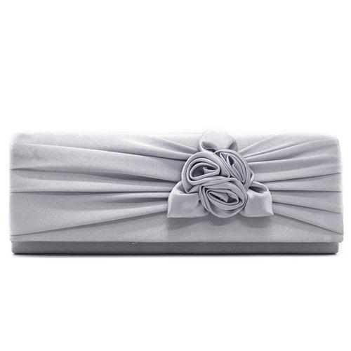 Flower Satin Evening Clutch Bag - GRAY