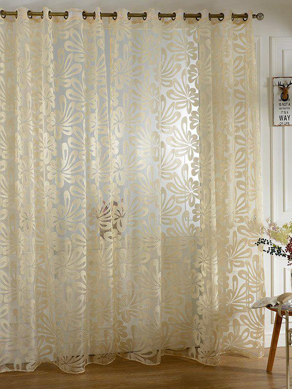 Flower Embroidered Grommet Roller Tulle Curtain - BEIGE 100*200CM