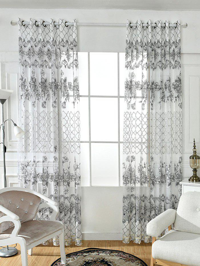 Home Decor Floral Embroidered Perforate Tulle Curtain - LIGHT GRAY 100*250CM