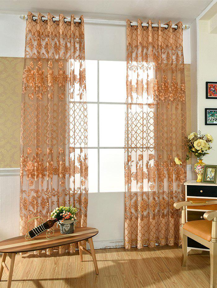 Home Decor Floral Embroidered Perforate Tulle Curtain - WHEAT 100*250CM