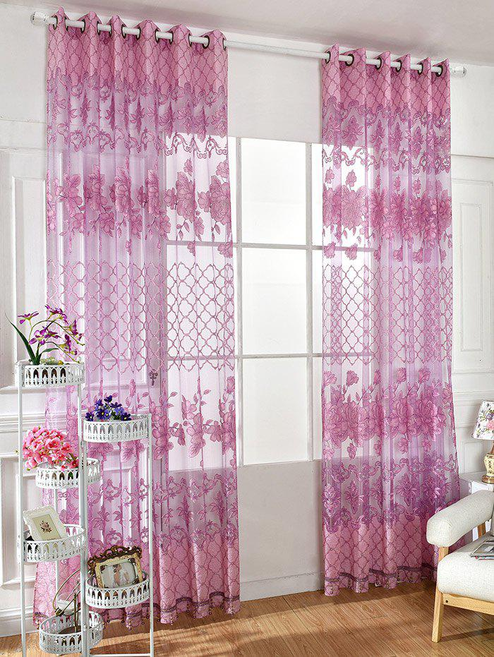 Home Decor Floral Embroidered Perforate Tulle Curtain - LIGHT PURPLE 100*250CM