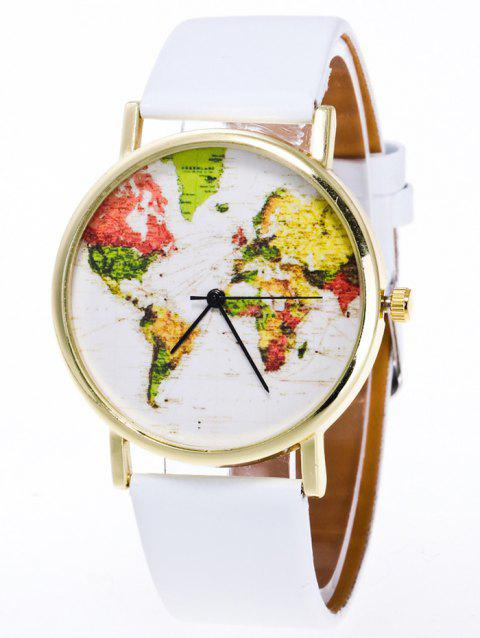 Faux Leather World Map Watch - WHITE