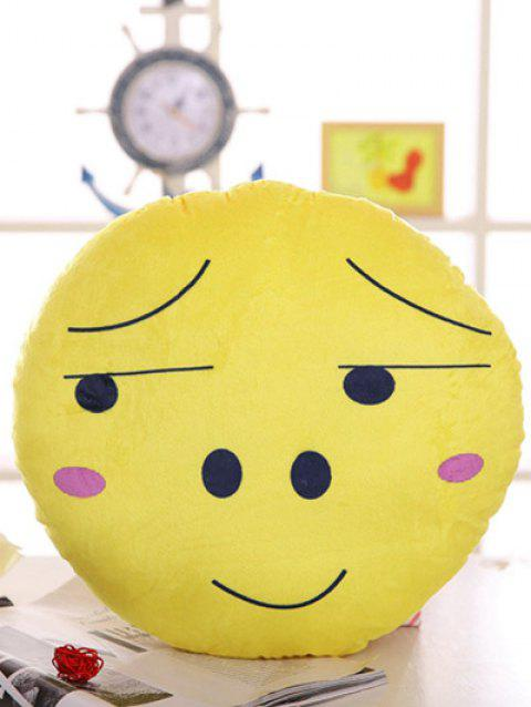 Round Face Expression Soft Cushion Pillow - YELLOW