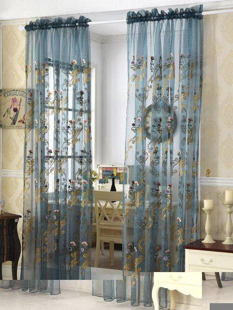 Floral Embroider Sheer Window Tulle Curtain - ICE BLUE 100*200CM