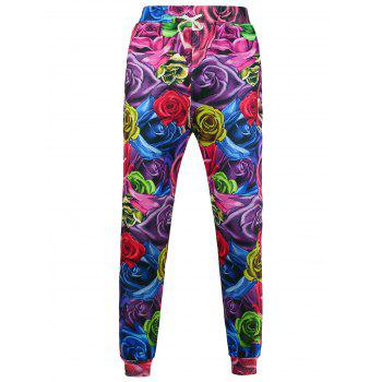 3D Rose Printed Jogger Pants