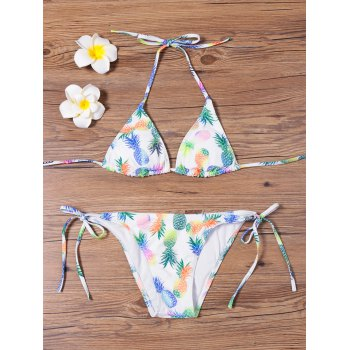 Pineapple Print Tie Side Bikini Set