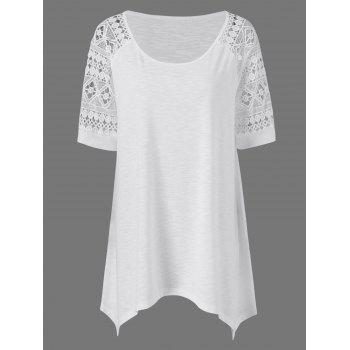 Plus Size Raglan Sleeve Crochet Trim Long T-Shirt