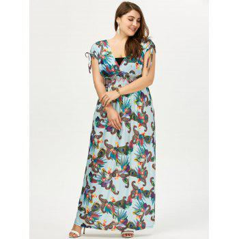 Plus Size Printed Short Sleeve Empire Waist Maxi Dress - 3XL 3XL