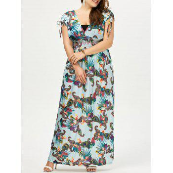 Plus Size Printed Short Sleeve Empire Waist Maxi Dress - LAKE BLUE 3XL