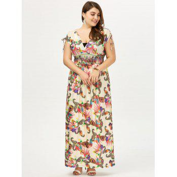 Empire Waist Plus Size Long Floral Dress - 3XL 3XL