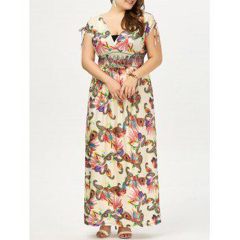 Empire Waist Plus Size Long Floral Dress - PALOMINO 3XL