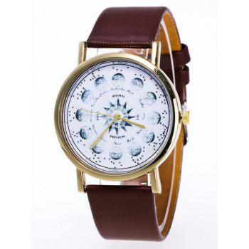 Planet Pattern Faux Leather Watch - BROWN BROWN