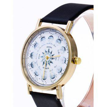 Planet Pattern Faux Leather Watch - BROWN